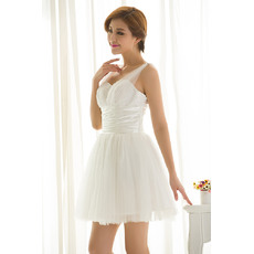 Affordable Short Tulle Summer Wedding Dresses with Beaded Bust and Pleated Detail