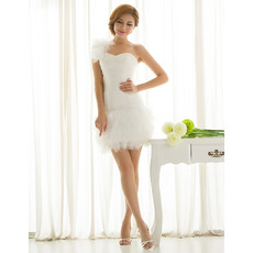 Simple Column/ Sheath One Shoulder Sheath Organza Ruffle Satin Tulle Short Summer Beach Wedding Dresses