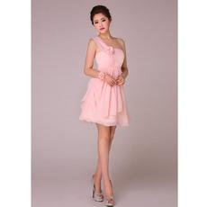 Nice A-Line One Shoulder Short Chiffon Bridesmaid Dresses