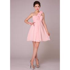 Pretty A-Line One Shoulder Chiffon Short/ Mini Empire Bridesmaid Dresses