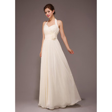 Formal and Elegant Halter Chiffon Floor Length A-Line Bridesmaid Dresses for Summer