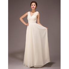 Fabulous V-Neck Chiffon Floor Length A-Line Bridesmaid Dresses