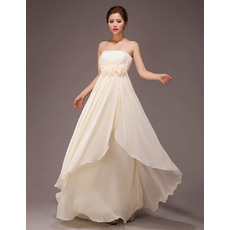 Pretty Strapless Empire Chiffon Floor Length Bridesmaid Dresses