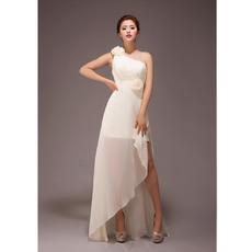 Sexy A-line One Shoulder Asymmetric Chiffon Long Bridesmaid Dresses