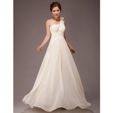 Popular One Shoulder A-Line Chiffon Floor Length Bridesmaid Dresses