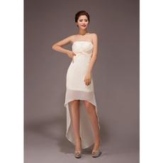 Unique Sheath Asymmetric High-Low Strapless Chiffon Bridesmaid Dresses