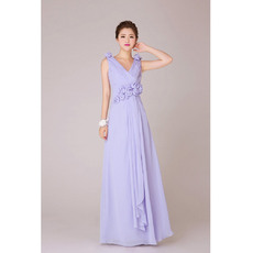 Discount V-Neck Chiffon Floor Length A-Line Bridesmaid Dresses