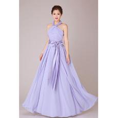 Classy Halter Chiffon A-Line Floor Length Bridesmaid Dresses