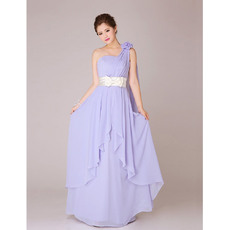 Nice V-Neck One Shoulder Chiffon Long Bridesmaid Dresses for Summer Wedding