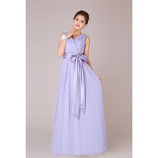 Elegant V-Neck Chiffon Floor Length A-Line Bridesmaid Dresses