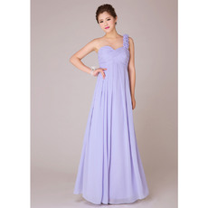 Fabulous One Shoulder Empire Chiffon Long Bridesmaid Dresses