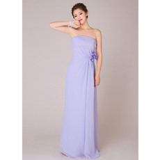 Gorgeous Chiffon Sheath Strapless Floor Length Bridesmaid Dresses