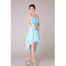 Sexy Romantic Emipre High-Low Pleated Chiffon Strapless Blue Bridesmaid Dresses for Summer Wedding