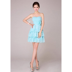 Stylish Tiered Empire Skirt Short Chiffon Sweetheart Bridesmaid Dresses