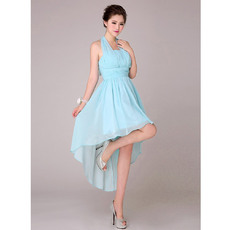 Special Asymmetric High-Low Halter Pleated Chiffon Empire Bridesmaid Dresses