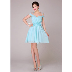 Cusotm A-Line Spaghetti Straps Short Chiffon Bridesmaid Dresses for Summer
