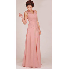 Formal and Elegant Sheath V-Neck Floor Length Chiffon Bridesmaid Dresses for Summer