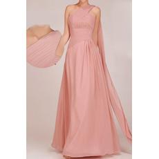 Inexpensive One Shoulder Floor Length Chiffon A-Line Bridesmaid Dresses