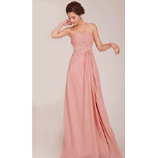 Elegant A-Line Sweetheart Long Chiffon Bridesmaid Dresses