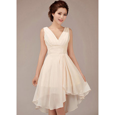 Amazing A-Line V-Neck Short Chiffon Bridesmaid Dresses