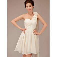 Chic A-Line One Shoulder Short Chiffon Bridesmaid Dresses for Summer Wedding
