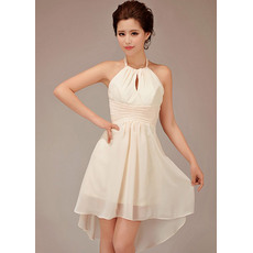 Morden A-line Halter Short Chiffon Bridesmaid Dresses for Summer Beach Wedding