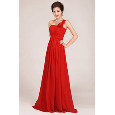 Affordable One Shoulder Floor Length Chiffon Empire Bridesmaid Dresses