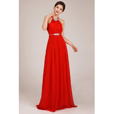 Discount Halter Column Chiffon Floor Length Bridesmaid Dresses