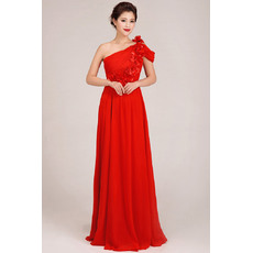 Formal One Shoulder Chiffon Floor Length Sheath Bridesmaid Dresses