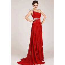 Discount One Shoulder Chiffon Sheath Floor Length Bridesmaid Dresses