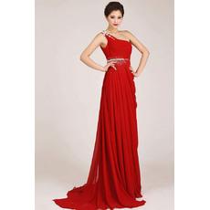 Discount One Shoulder Chiffon Sheath Floor Length Bridesmaid Dresses