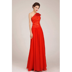 Elegant One Shoulder Chiffon Floor Length A-Line Bridesmaid Dresses