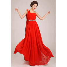 New Style One Shoulder A-Line Floor Length Pleated Bridesmaid Dresses/ Charming Flowing Chiffon Wedding Party Dresses with