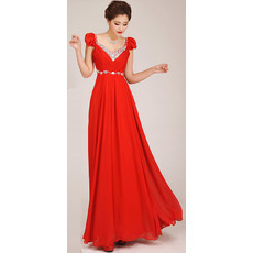 Amazing Cap Sleeves A-Line Sweetheart Chiffon Floor Length Bridesmaid Dresses