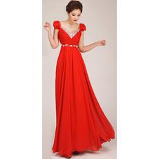 Amazing Cap Sleeves A-Line Sweetheart Chiffon Floor Length Bridesmaid Dresses