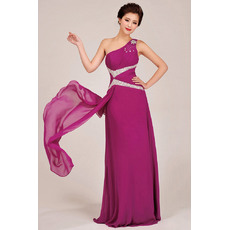 Modest One Shoulder Chiffon Floor Length Sheath Bridesmaid Dresses