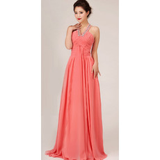 Gorgeous Halter Chiffon Floor Length A-Line Bridesmaid Dresses