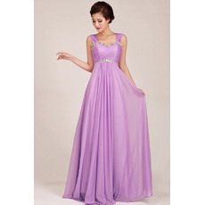 Elegant Chiffon Empire Straps Floor Length Bridesmaid Dresses