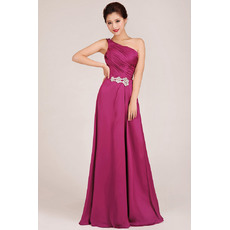 Custom One Shoulder A-Line Floor Length Chiffon Bridesmaid Dresses