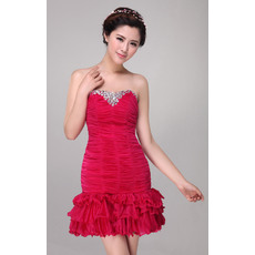 Stylish Pleated Sheath/ Column Short Strapless Chiffon Cocktail Dresses