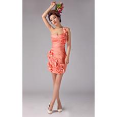 Sexy One Shoulder Sheath/ Column Short Satin Cocktail Dresses