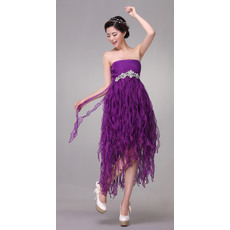 Nice Draped Empire Strapless Tea Length Organza Cocktail Party Dresses