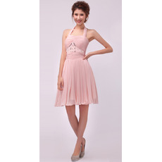 Formal Halter Chiffon Short A-Line Cocktail Dresses