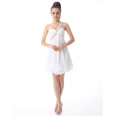 Chic One Shoulder Chiffon Empire Short Cocktail Party Dresses