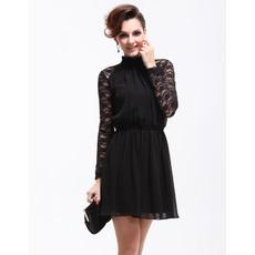 Fabulous Long Lace Sleeves Short Sheath Chiffon Cocktail Dresses