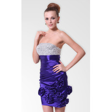 Attractive Column/ Sheath Strapless Short Satin Beaded Cocktail Dresses