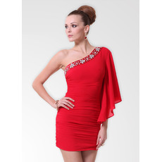 Fabulous One Shoulder Chiffon Sheath/ Column Short Cocktail Party Dresses