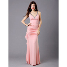 Pretty Sheath Chiffon V-Neck Floor Length Formal Evening Dresses