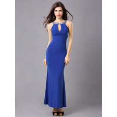 Beautiful Sheath/ Column Round/ Scoop Satin Ankle Length Formal Evening Dresses