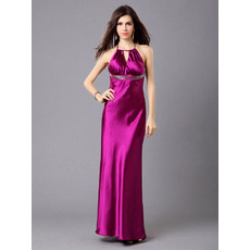 Pretty Halter Column/ Sheath Satin Floor Length Evening Dresses